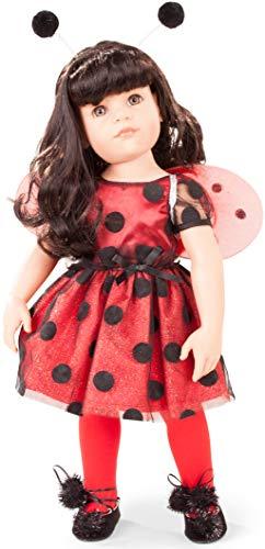 Hannah Strumpfhosen (Götz 1859088 Hannah Ladybug - als Käferchen - 50 cm große Stehpuppe, Schwarze Haaren, graue Augen - Set)