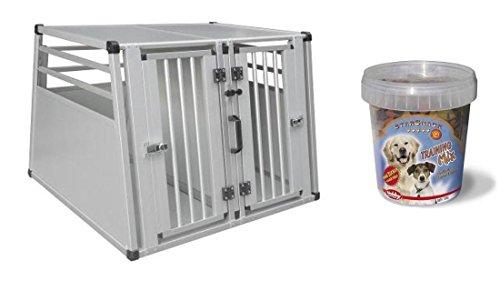 Hundebox 92 x 88 x 68 cm Autobox mit Trainings-Leckerlie zum Üben Transportbox Transportkäfig Alubox Kofferraum-Box Aluminium Doppelbox mit Trennwand