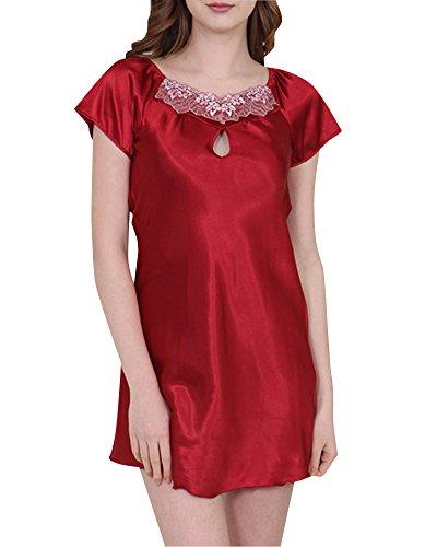 Donna Pigiama Classica Semplice Camicia da Notte Raso Pigiameria Delle Rosso1