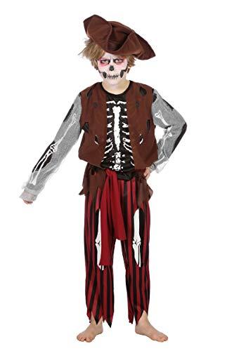 Skelett Kind Kostüm Pirat - Wilbers Skelett Piratenkostüm Kostüm Pirat Skelettkostüm Kinder Junge Halloween 128-164 Schwarz/Rot/Braun 128 (7-8 Jahre)