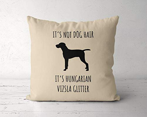 DKISEE Vizsla Decorative Throw Pillow Cover, Its Not Dog Hair Its Vizsla Glitter Pillow Case, 14×14 Inch Square Cotton…
