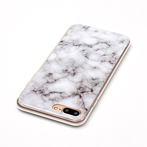 iPhone 7 Plus Hülle Silikon, LuckyW TPU Marmor Handyhülle für Apple iPhone 7 Plus/7S Plus(5.5 zoll) Soft Silikon Tasche Transparent Schale Clear Klar Hanytasche Durchsichtig Rückschale Ultra Slim Thin Weiß 1