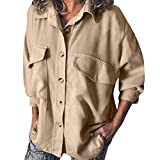 KaloryWee Damen Herbst Sweatshirt Langarmshirt Original Maßanzug Arbeitshemd Double Pocket Tooling Freizeitbluse Cargo Chino Hemd