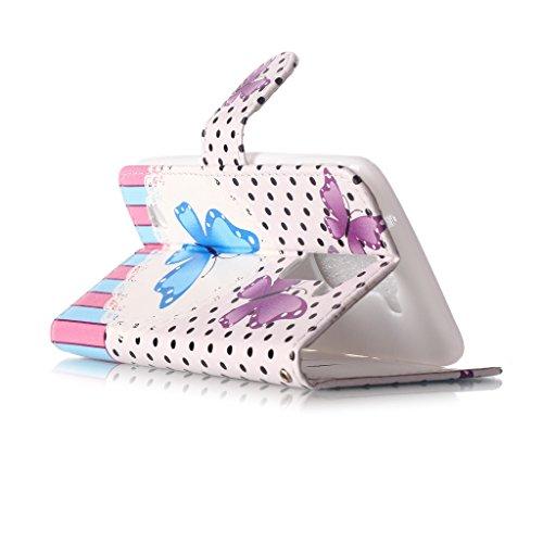 Custodia LG Leon 4G LTE H340N/C40/C50, con protezione per lo schermo in vetro temperato], idatog (TM)–Custodia a Libro Magnetica, alta qualità, classica Colorful Cool Pattern Design Premium PU Pel Butterfly