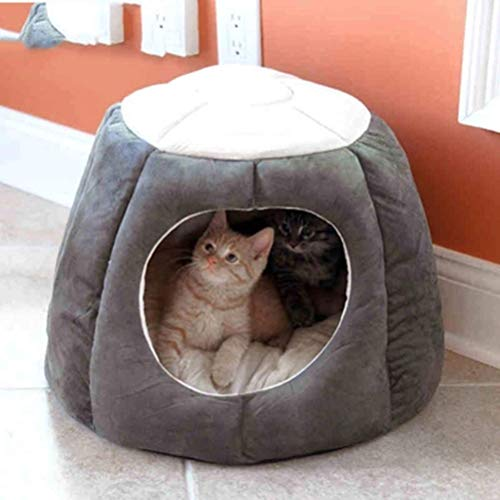 wa8a Winter Warm Cat House Kennel Pet Nest Cat Sleeping Bag Dog Cat Tent Dogs Pets Home Cave (S 32 * 40CM, Gray)