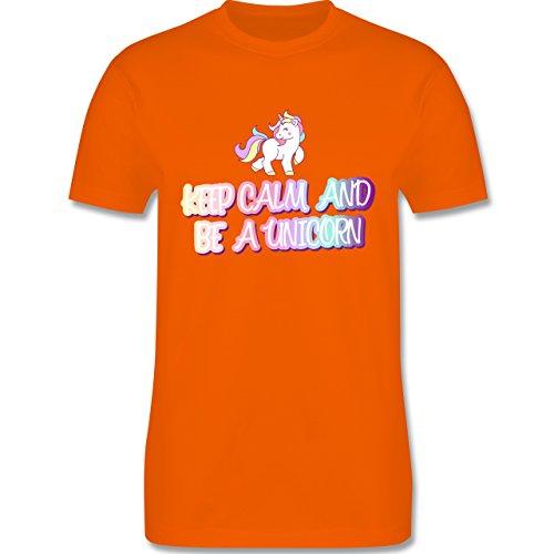 Nerds & Geeks - Keep Calm and Be a Unicorn - Herren T-Shirt Rundhals Orange