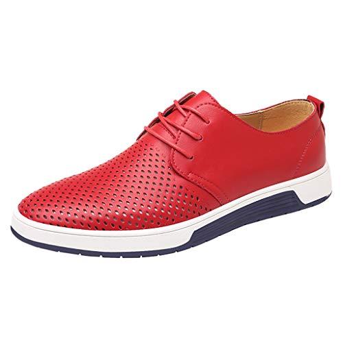 Dhyuen Herrenmode Breathable Casual Lederschuhe Runde Zehe Lace-Up Männlicher Schuh (Kinder Schuhe Red Sparkly)
