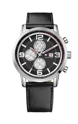 Tommy Hilfiger Watches 1710335 de cuarzo para hombre, correa de cuero color negro