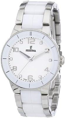 Festina Trend Ceramic F16531/1 - Reloj analógico de cuarzo para mujer, correa de cerámica color blanco