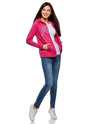 oodji Ultra Damen Kapuzenpullover mit Stickerei Rosa (4712P)