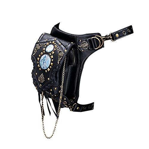 Haobing Sport Militär Tactical Hüfttaschen Beintasche Steampunk Vintage Gothic Umhängetasche Schultertasche (Schwarz, Eine Größe)
