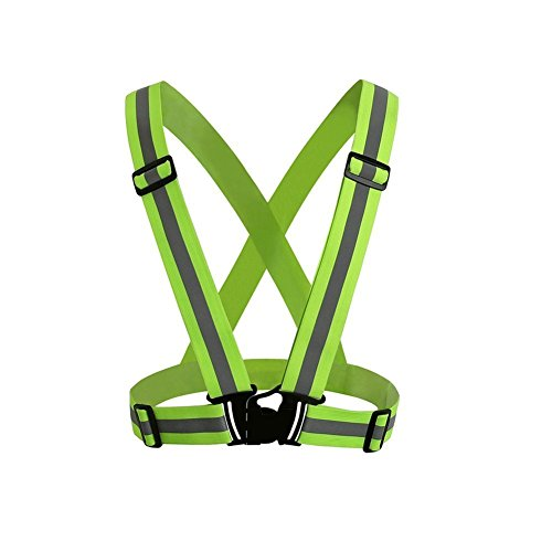 CNIKESIN 360 Degrees Green Adjustable Reflective Running Gear Safety Vest Waist Belt Stripes Jacket High Visibility for Outdoor Jogging, Cycling, Walking, Motorcycle Riding and Running (Visibility High Green)