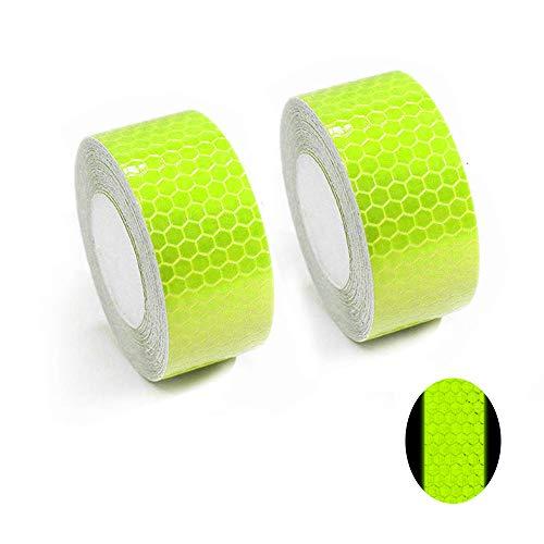 Tuqiang® Bande Réfléchissant Adhésif pour Véhicules Vêtements Sac à Dos Haute visibilité Ruban Sécurité extérieure Autocollant réfléchissant 2 Pièces Vert Fluorescent 3M×2.5CM