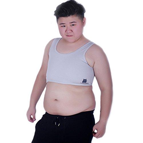 BaronHong Tomboy Trans Lesbian Mesh Brust Binder Korsett Plus Size Short Tank Top (Grau, L)