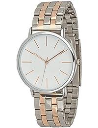 """SIX """"Geschenk"""" elegante moderne silberne Damen Designer Armbanduhr mit Metall Gliederarmband rosegoldene Details in hochwertiger Geschenkbox (274-340)"""