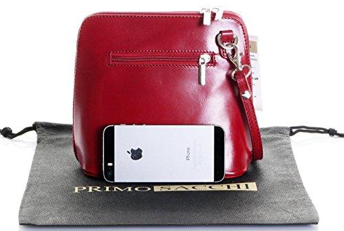 In pelle italiana, Small/Micro croce corpo borsa o borsetta borsa a tracolla.Include una custodia protettiva di marca. Rosso scuro