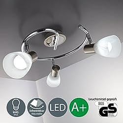 B.K.Licht Lámpara de techo led I 3 focos I lámpara de dormitorio I giratoria I orientable I incl 3 leds de 5,5 W l luz de techo I lámpara de focos para salón I níquel mate I cromo I 230 V I E14 I IP20
