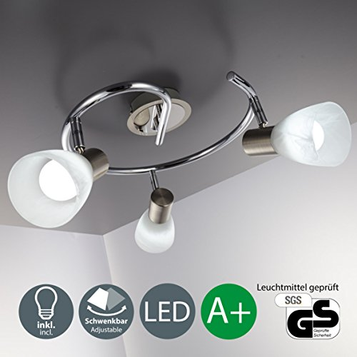 Lámpara de techo led I 3 focos I lámpara de dormitorio I giratoria I orientable I incl. 3 leds de 5,5 W l luz de techo I lámpara de focos para salón I níquel mate I cromo I 230 V I E14 I IP20