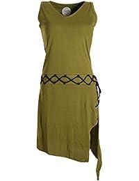 Vishes - Alternative Bekleidung - Ärmelloses Kleid asymmetrisch Beinausschnitt Gürtel-Schnürung Bio-Baumwolle