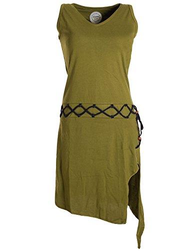 Vishes Alternative Bekleidung - Ärmelloses Kleid Asymmetrisch Beinausschnitt Gürtel-Schnürung Bio-Baumwolle Olive 38