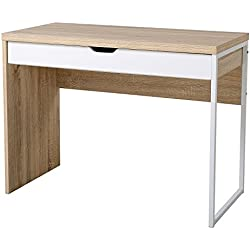 HOMCOM Mesa de Ordenador tipo Escritorio de PC con 1 Cajón para Hogar Oficina o Despacho Escuela- Mueble de Madera Moderno y Simple 100x50x75cm