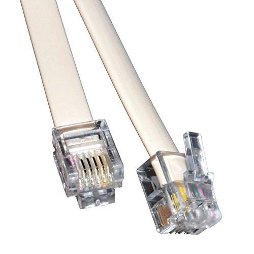 kenable 005771 Telefonkabel 1 m weiß - Telefonkabel (1 m, RJ11, RJ11, Weiß, Stecker auf Stecker)