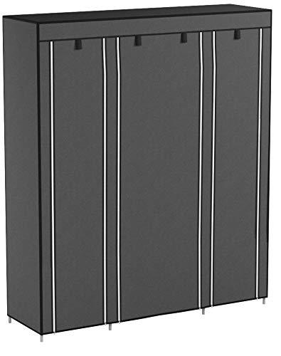 SONGMICS Armoire de rangement XXL, Penderie dressing en Tissu non-tissé, 175 x 150 x 45 cm, Gris LSF03G