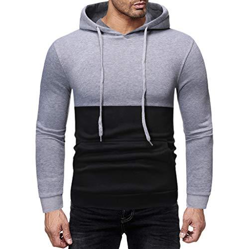 Men's Casual Pullover Hoodies Long Sleeve Hooded Sweatshirt ◆Elecenty◆ Langen Ärmeln Kapuzenpullover Sweatshirts Drawstring Sportbekleidung Outwear