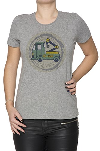 37 Met Donna T-shirt Grigio Cotone Girocollo Maniche Corte Grey Women's T-shirt