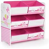 Preisvergleich für Schmetterlinge und Blumen - Regal zur Spielzeugaufbewahrung mit sechs Kisten für Kinder