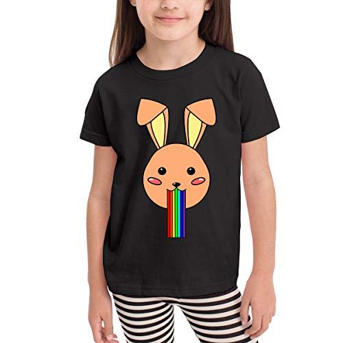Lustige Rainbow Rabbit Boy Mädchen Kid Kurzarm T-Shirt Sport Baseball Tees(4t,schwarz) -