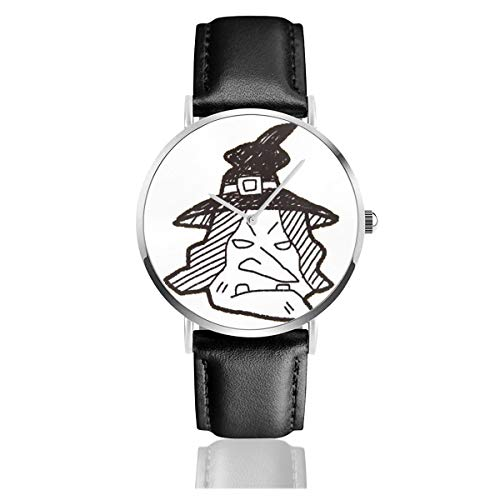 Business Analog Watches,Witch Hat Doodle Classic Stainless Steel Quartz Waterproof Wrist Watch with Leather Strap