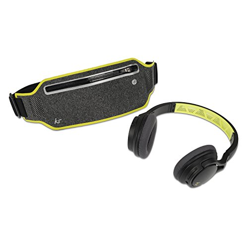 KitSound Exert Sports On-Ear Wireless Bluetooth Headphones with Adjustable Waistband Carry Pouch, Black/Green Best Price and Cheapest