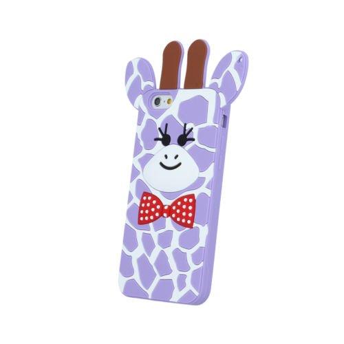 BACK CASE 3D Giraffe 2 Für Apple iPhone 5 iPhone 5S iPhone 5G iPhone 5SE Silikonhülle Hülle Etui Flip Cover Silikon Tasche (rosa / pink) violett / violet