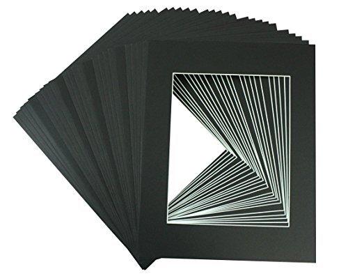 Stück 11x 14Schwarz Bild Matten Matte mit Weiß Core Schrägschnitt für 8x 10Foto + Rückseite + Staubbeutel, Papier, schwarz, 11
