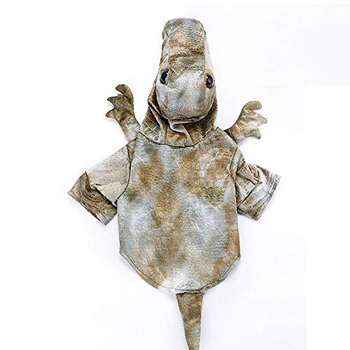 KDSANSO Dinosaurier Katzenkostüm,Lustige Haustier-Hundekatze kleidet Oben Kleidung-Weihnachtshalloween-Dinosaurier-Kostüme an, Grau S