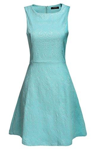 Zeagoo Damen Elegant A-Line Partykleid Ärmellos Cocktailkleid Festliche Kleider Jacquard Kleid,Hellblau,EU 36(Herstellergröße:S) Jacquard-kleid