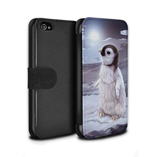 Officiel Elena Dudina Coque/Etui/Housse Cuir PU Case/Cover pour Apple iPhone 4/4S / Minou/Voir Design / Les Animaux Collection Le Voyageur/Manchot