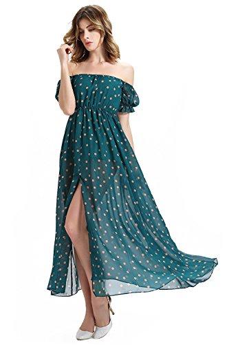 Babyonlinedress Femme Sexy Robe Lâche d'été de Soirée/Cérémonie longue Busiter avec Manches Courtes à Pois en Mousseline Vert Foncé