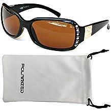 VOX Femenina Gafas de Sol Polarizadas Diseñador Moda Diamantes de Imitación – Marco negro – Lente