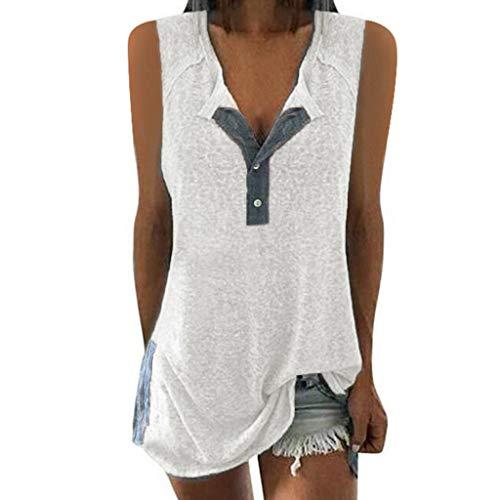 TITIU Damen Lose Patchwork Casual Knopf Kurzarm Bluse Oberteil Tees T-Shirt Tops(X1-Weiß,EU-42/CN-L)