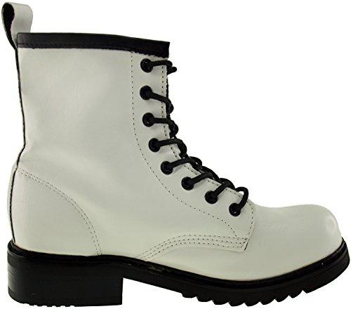 Maxstar  303-Walker, Chaussons montants femme Blanc - blanc