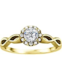 Silvernshine 1.16 Cttw White Clear Diamond CZ 10k Yellow Gold Plated Wedding Engagement Ring