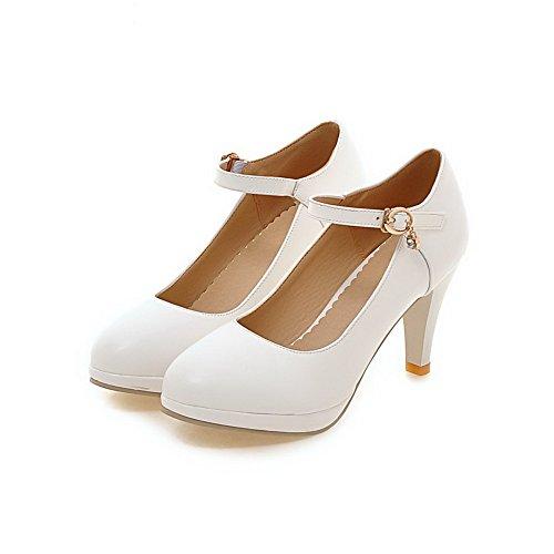 Boucle Femme Rond Couleur Cuir Unie À Chaussures Blanc Légeres Talon vSgwq