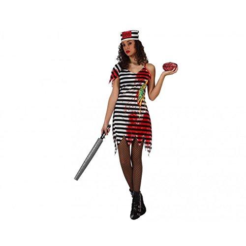 Zombie Gefängnisinsassen-Kostüm für Damen - - Gefängnisinsassen Kostüm