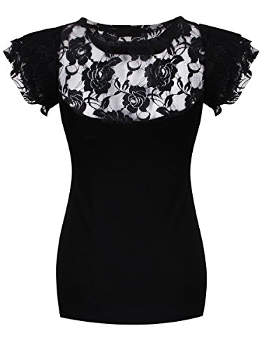 Spiral - RESTING WITH ANGELS - Damens - Lace Layered Neck Top Schwarz Black