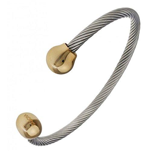 Magnetarmband Magnetarmreif Magnetspange Twist mit Goldkugeln - In die vergoldeten Schmuckköpfchen ist jeweils ein hochwertiger Samarium Cobalt Magnet mit 150 Millitesla eingearbeitet