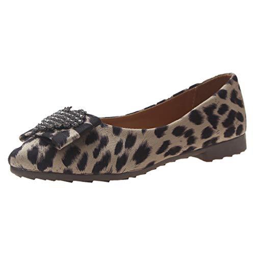 Day.LIN Damen Leicht Weich Flache Halbschuhe Atmungsaktive Casual Geschlossene Ballerinas Schuhe Leopard