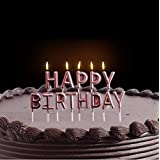 AMFIN Happy Birthday Candle / 1st Birthday Candle / Happy Birthday Candle for Birthday Theme / Happy Birthday Candles for Cake (Rose Gold)