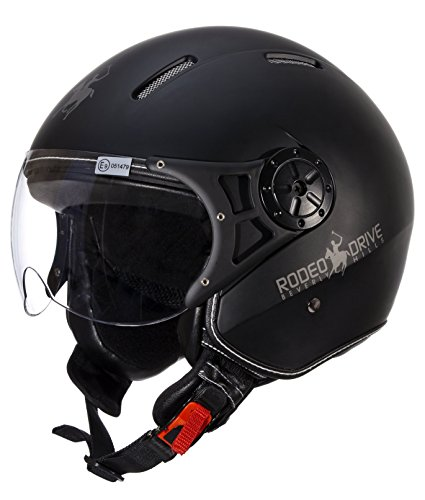 Rodeo Drive RD106 Casco Moto, Nero, Taglia S